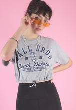 Load image into Gallery viewer, Vintage 90s Reworked Crop Top in Grey with Dakota Print in S