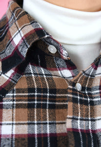 Vintage 90s Flannel Shirt Brown Checkered in S/M