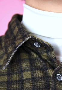Vintage 90s Flannel Shirt Check Dark Green Grey in M
