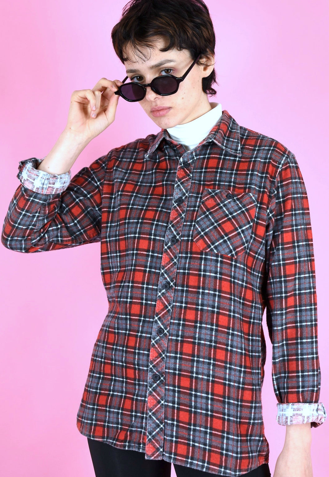Vintage 90s Flannel Shirt Black Red Check in S