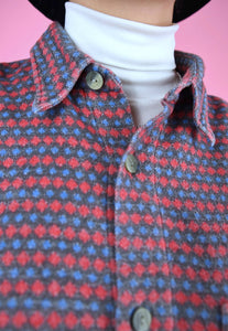 Vintage 90s Flannel Shirt Grey Blue Red Pattern in L