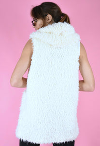 Vintage 90s Gilet White Teddy Sleeveless With Hood in S