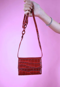Vintage Inspired 90s Mini Bag Cross Body Faux Leather Red
