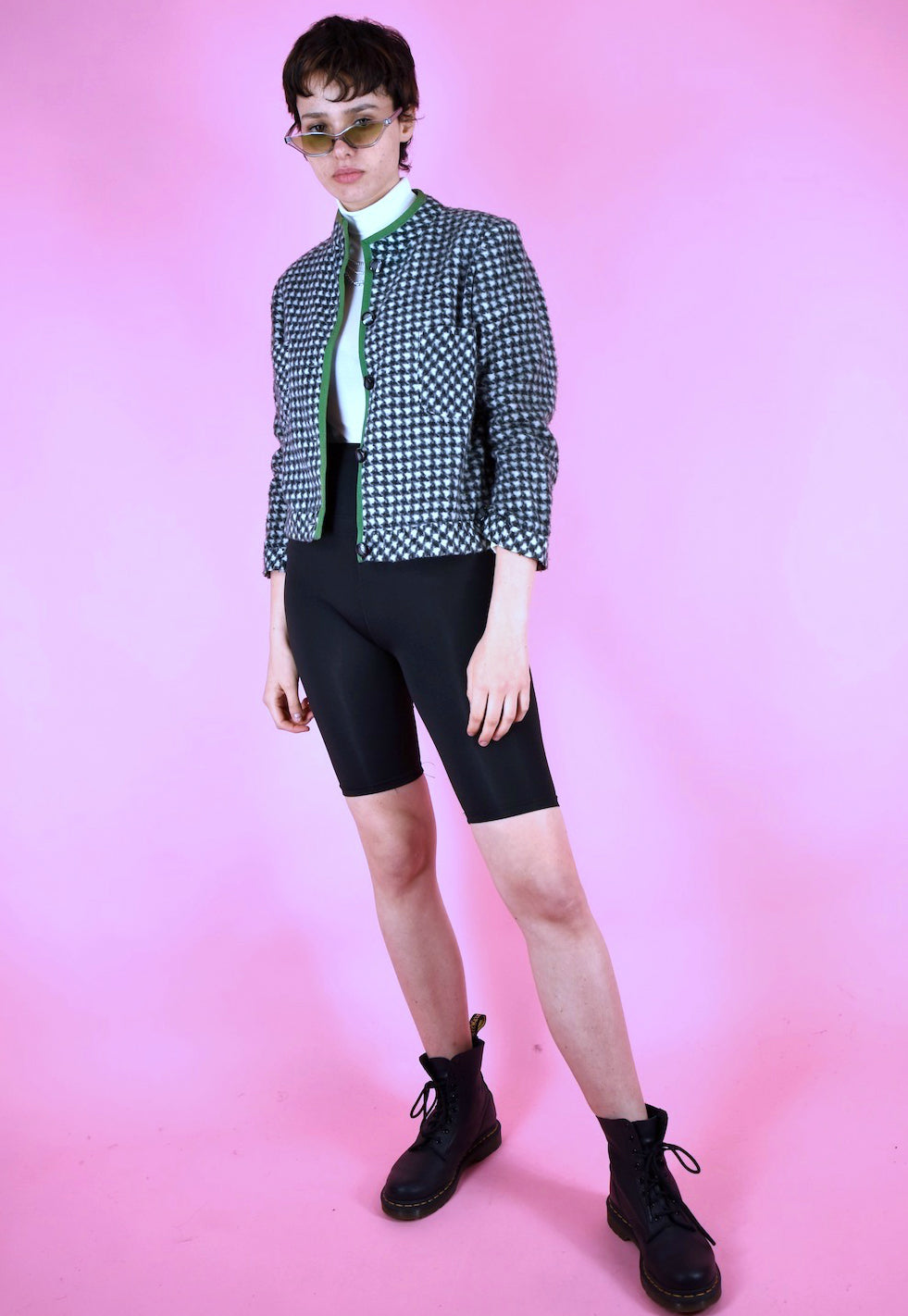 Vintage 90s Blazer Cropped Houndstooth Black White Green in XS/S