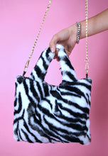 Load image into Gallery viewer, Vintage Inspired Fluffy Bag Faux Fur White Tiger Pattern