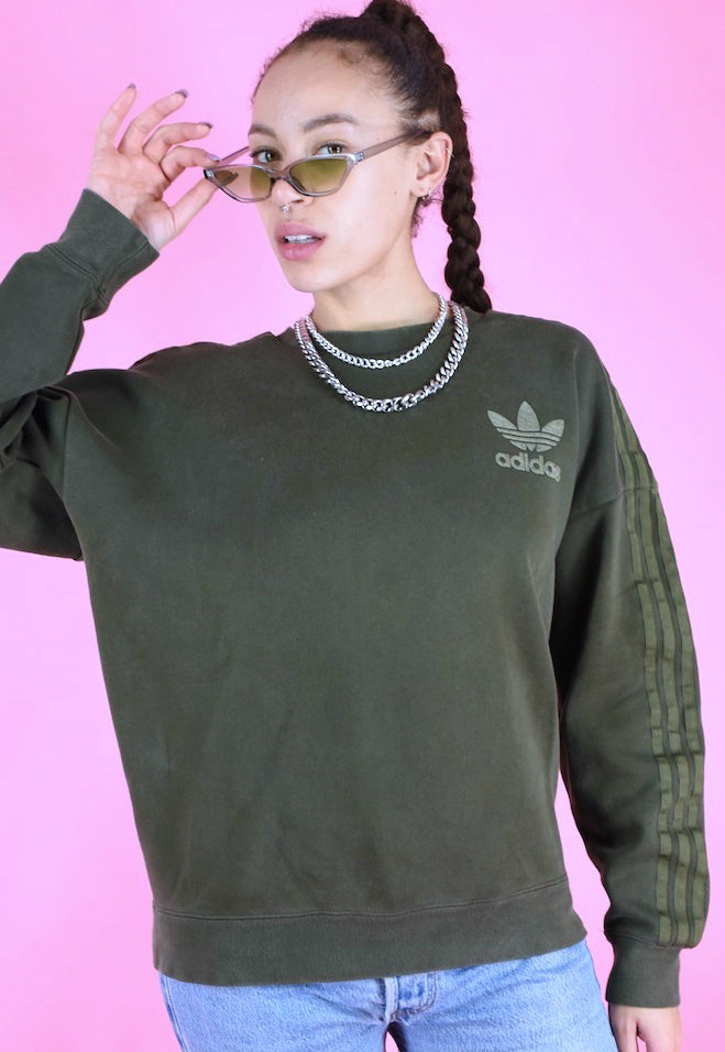 Vintage 90s Adidas Jumper Sweater Green in S/M