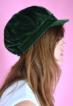 Load image into Gallery viewer, Vintage Inspired Newsboy Cap Velvet Khaki Green