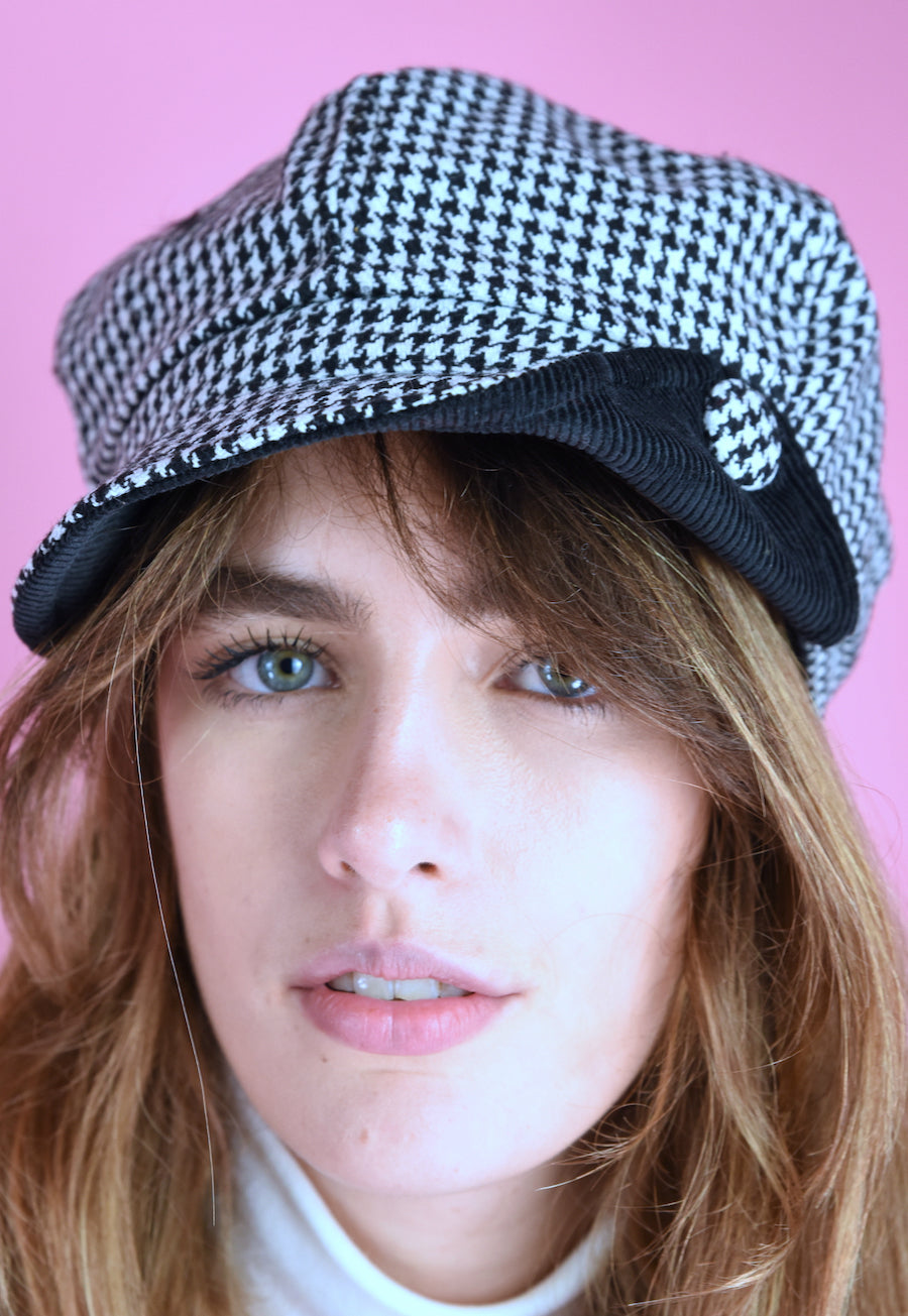 Vintage Inspired 90s Newsboy Cap Check Black White
