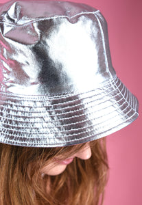 Vintage Inspired Bucket Hat 90s Silver Rave