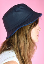 Load image into Gallery viewer, Vintage Inspired 90s Bucket Hat Dark Blue Fleece Reversible