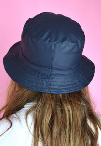 Vintage Inspired 90s Bucket Hat Dark Blue Fleece Reversible