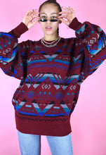Load image into Gallery viewer, Vintage 90s Knit Jumper Geometric Pattern Maroon Blue Grey in L