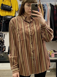 Vintage Corduroy Shirt in Beige Brown Red Striped with Pocket in L/XL