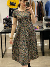 Load image into Gallery viewer, Vintage 90s Dress Floral Midi in Dark Blue, Purple and Beige Flower Pattern in S