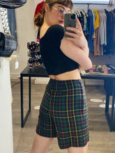 Load image into Gallery viewer, Vintage Tartan Shorts Green Blue Yellow Red Checked with Side Zipper in S