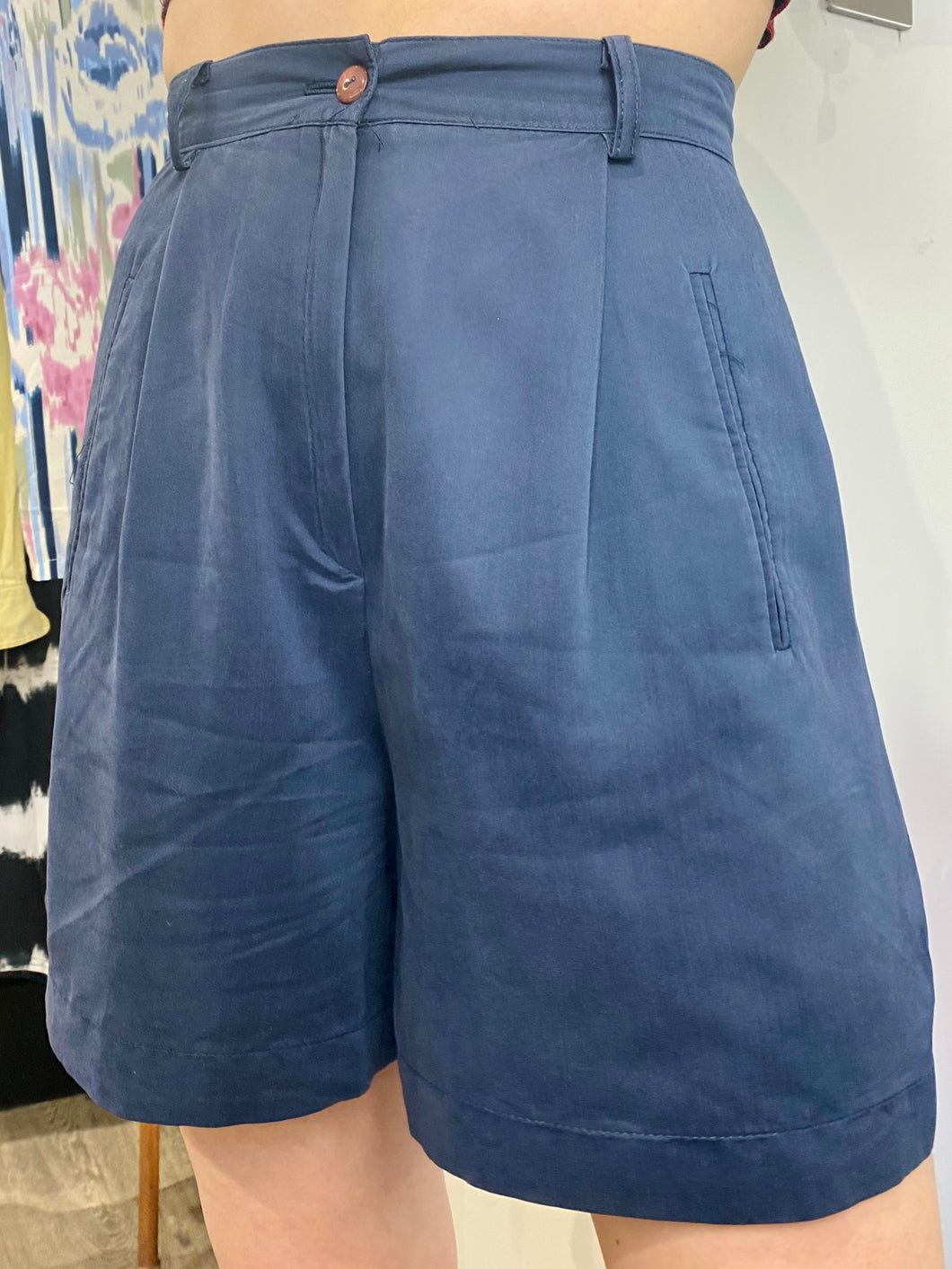 Vintage Suit Shorts in Dark Blue with Pockets in S