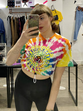 Load image into Gallery viewer, Vintage Reworked Tie Dye Crop Top T-Shirt in White and Rainbow Colours with Workshop Print in XS
