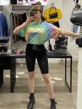 Load image into Gallery viewer, Vintage Reworked Tie Dye Crop Top T-Shirt in Rainbow Colours with Wildlife Center Print in S/M