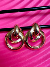 Load image into Gallery viewer, Vintage Inspired Earrings Triple Hoops in Gold Colour