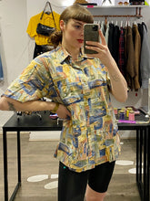 Load image into Gallery viewer, Vintage Shirt Short Sleeve in Yellow Blue Green Abstract Pattern with Pocket in L