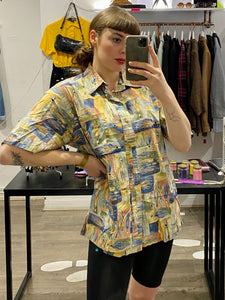 Vintage Shirt Short Sleeve in Yellow Blue Green Abstract Pattern with Pocket in L