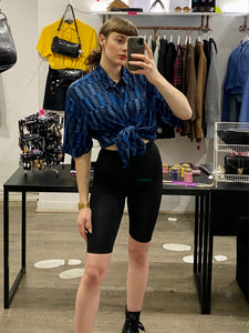 Vintage Shirt Short Sleeve in Blue with Geometrical Pattern and Pocket in L