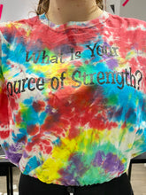 Load image into Gallery viewer, Reworked Vintage Tie Dye Crop Top T-Shirt in Rainbow Colours with Source of Strength Print in M