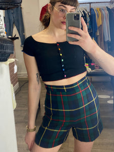 Vintage Tartan Shorts in Blue Green Red Yellow Checked with Side Zipper and Red Button Detail in S