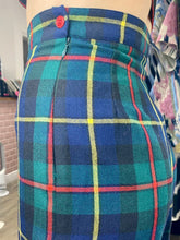 Load image into Gallery viewer, Vintage Tartan Shorts in Blue Green Red Yellow Checked with Side Zipper and Red Button Detail in S