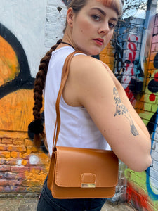 Vintage Inspired Bag Cross Body in Brown with Golden Buckle
