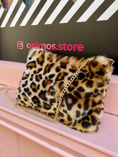 Vintage Inspired Bag Cross Body in Faux Fur in Leopard Print