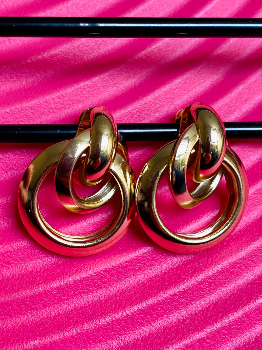 Vintage Inspired Earrings Triple Hoops in Gold Colour