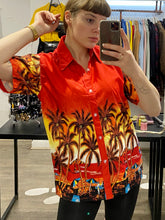 Load image into Gallery viewer, Vintage Shirt Hawaiian Short Sleeved in Orange Red Yellow with Beach Print in S/M