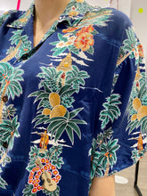 Load image into Gallery viewer, Vintage Shirt Hawaiian Short Sleeved in Blue with Palm Tree and Pineapple Print in XL