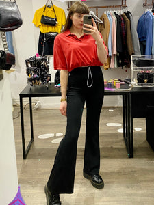 Vintage Reworked Ralph Lauren Crop Top Polo Shirt in Red in M/L