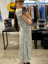Load image into Gallery viewer, Vintage 90s Dress Floral Maxi in Blue with White Red Green Flower Pattern and Buttoned Front in S