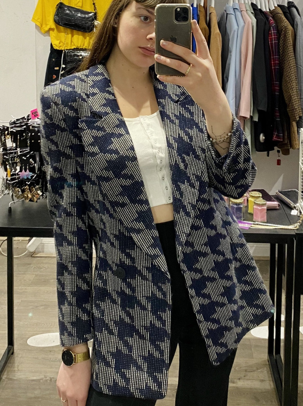 Vintage Blazer in Blue and Grey Geometric Pattern with Side Slit in M