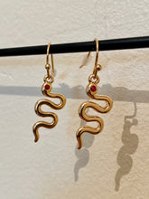 Load image into Gallery viewer, Vintage Inspired Snake Earrings in Gold with Red Gem Detail