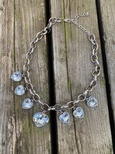Load image into Gallery viewer, Vintage 90s Necklace Choker with Hearts and Chunky Chain in Silver Colour