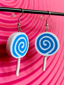Vintage Inspired Earrings Lollipop in Blue and White