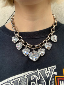 Vintage 90s Necklace Choker with Hearts and Chunky Chain in Silver Colour