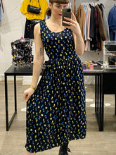 Load image into Gallery viewer, Vintage 90s Dress Floral Maxi Sleeveless in Dark Blue Green Yellow Flower Pattern in L