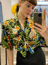 Load image into Gallery viewer, Vintage Shirt Hawaiian Short Sleeved in Black and Green with Rainbow Coloured Postcard Print in L