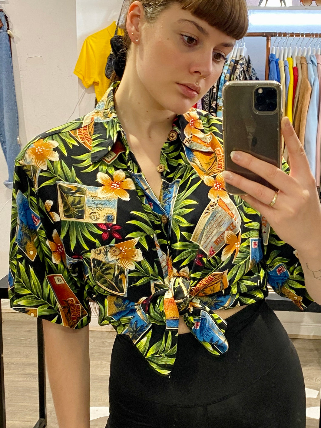 Vintage Shirt Hawaiian Short Sleeved in Black and Green with Rainbow Coloured Postcard Print in L