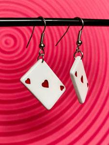 Vintage Inspired Earrings Playing Cards Heart in White and Red with Silver Detail
