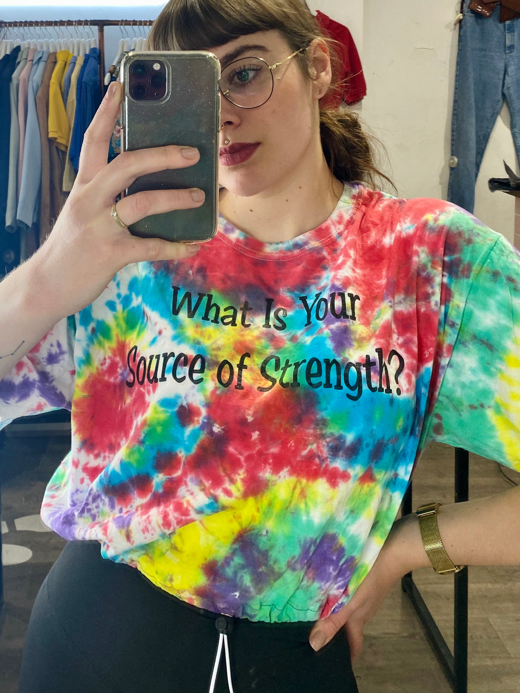 Reworked Vintage Tie Dye Crop Top T-Shirt in Rainbow Colours with Source of Strength Print in M