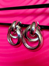 Load image into Gallery viewer, Vintage Inspired Earrings Triple Hoops in Silver Colour