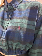 Load image into Gallery viewer, Reworked Vintage Ralph Lauren Crop Top Shirt Long Sleeve in Blue Green Black Checked in S