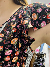 Load image into Gallery viewer, Vintage 70s Dress Floral Midi in Black with Pink Red Orange Flower Pattern and White Details in S