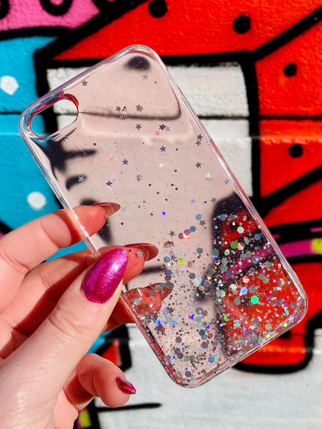 ONIMOS iPhone Case in Pink Transparent with Sparkling Glitter